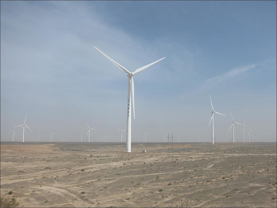 고비사막의 풍력발전기